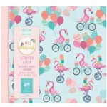 First Edition Scrapbook Album Let's Celebrate Flamingos 8in x 8in | 20 Refillable Pages