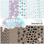 Sticker Kitten Mermaid Treasures Designer Paper Pack 6in x 6in | 30 Sheets