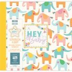 First Edition Scrapbook Album Hey Baby Elephants 12in x 12in | 20 Refillable Pages