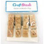 CraftStash Wooden Pegs | Christmas