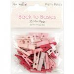 Dovecraft Mini Pegs Back to Basics Pretty Petals | Pack of 35