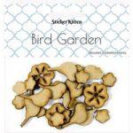 Sticker Kitten Bird Garden Wooden Birds and Flowers | Set of 23