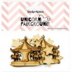 Sticker Kitten Unicorn Fairground Wooden Carousels and Stars | Set of 15