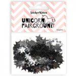 Sticker Kitten Unicorn Fairground Black Star Sequins | 10g