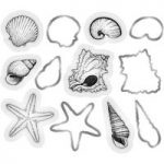 Crafter's Companion Sara Signature Die & Stamp Set Seashells Set of 12 | Nautical Collection
