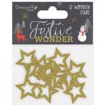 Dovecraft Premium Festive Wonder Glitter Wooden Stars | Pack of 12