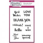 Creative Stamps A6 Stamp Set Watercolour Words Sentiment | Set of 8
